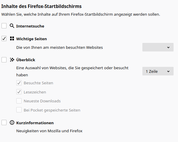 Firefox-Startbildschirm