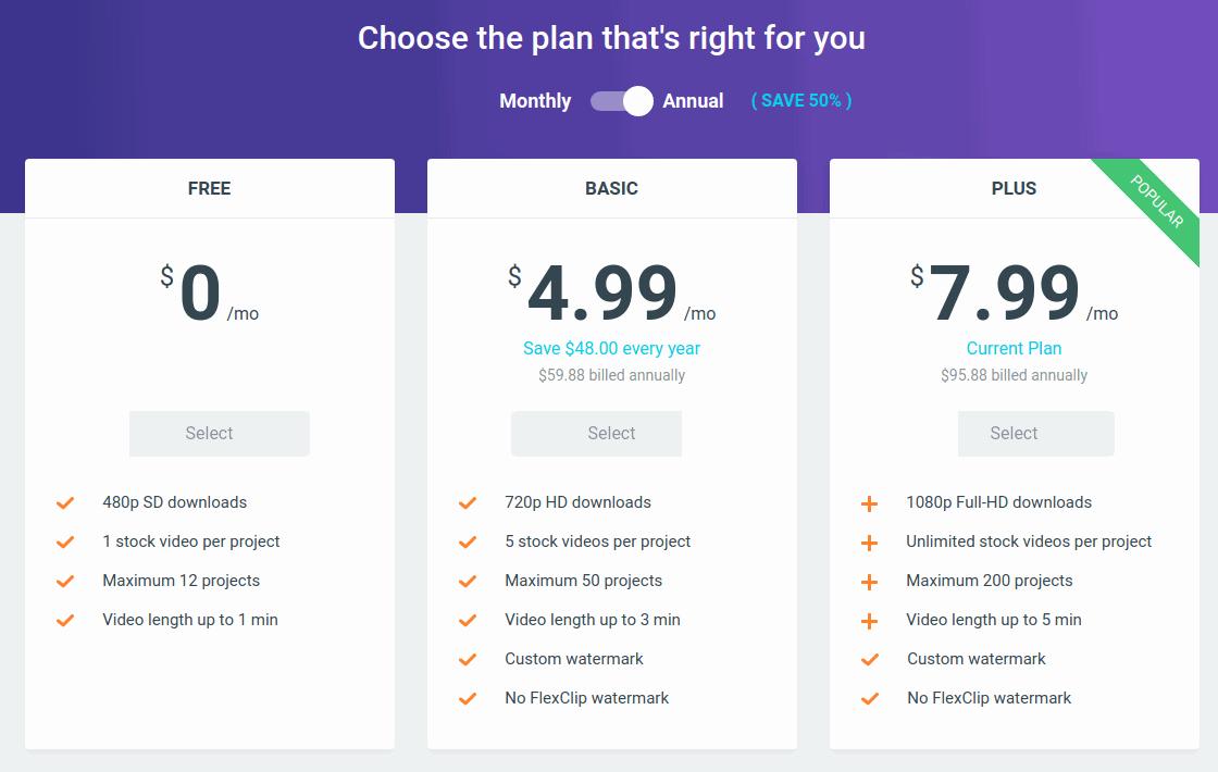 FlexClip: Pricing
