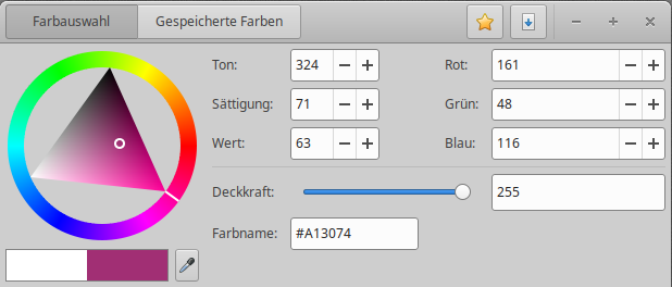 Gcolor3, Farbauswahl