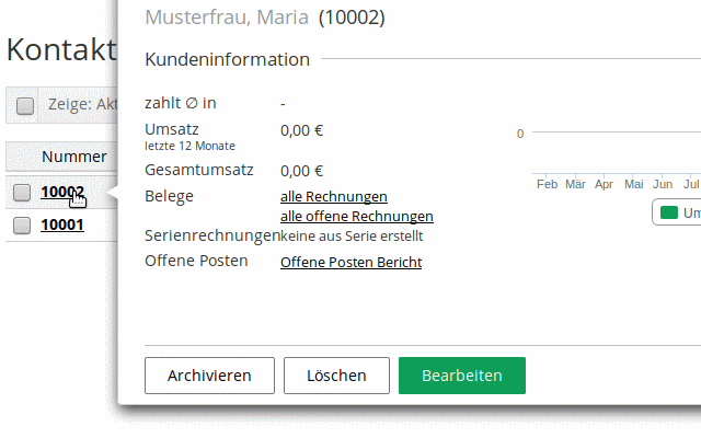 lexoffice, Kundeninformationen