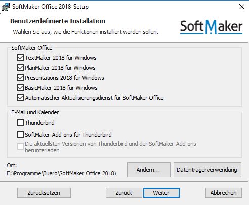 SoftMaker Office 2018, benutzerdefinierte Installation