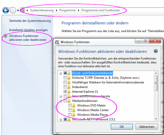 Medienfunktionen in Windows 7 deaktivieren